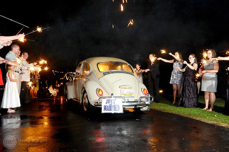 VW Bug as wedding get away car | Davey Morgan Photography