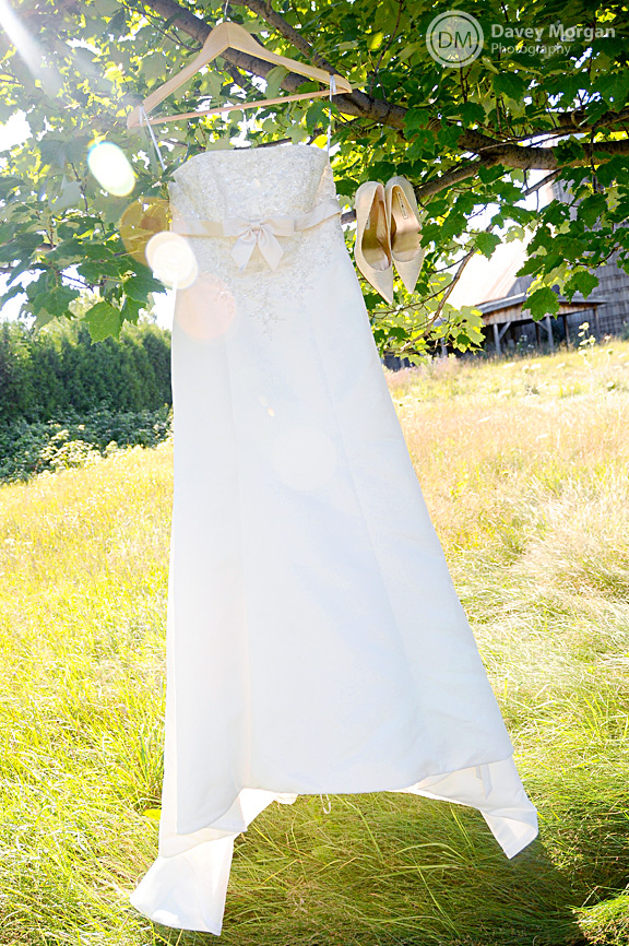 Wedding Dress in a field and barn