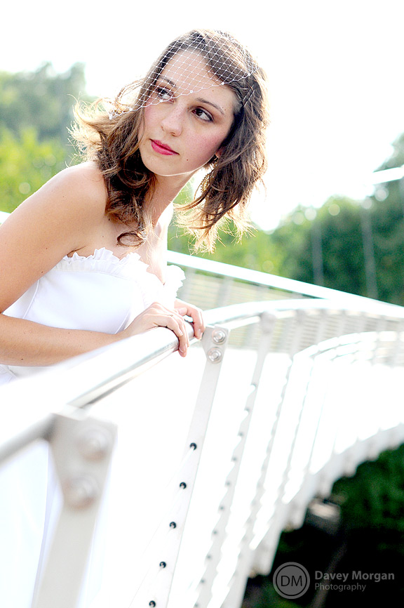 Bridal pictures on Liberty Bridge downtown | Davey Morgan Photography