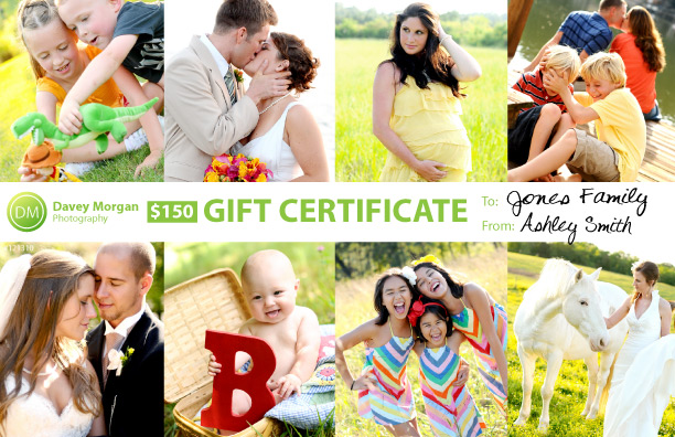 Photography Gift Certificate | Davey Morgan Photography