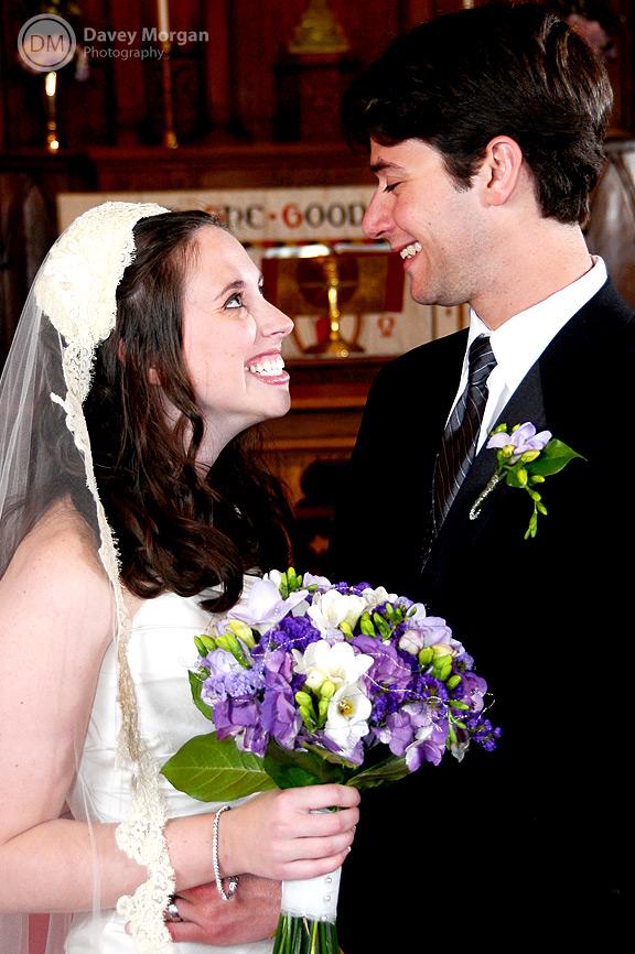 Bride looking and smiling at groom | Davey Morgan Photography