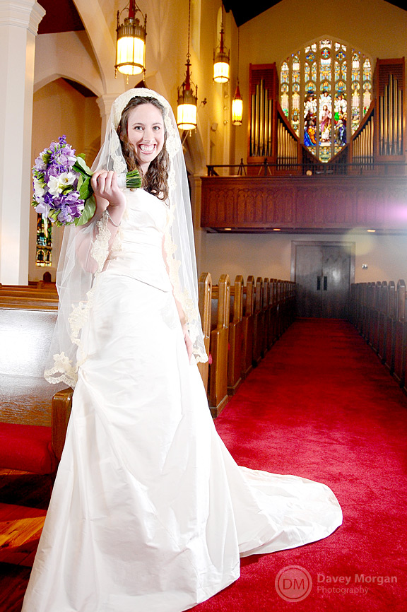 Bride standing in Old Church | Davey Morgan Photography