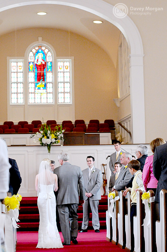 Father of Bride and Bride walking down the church aisle | Davey Morgan Photography