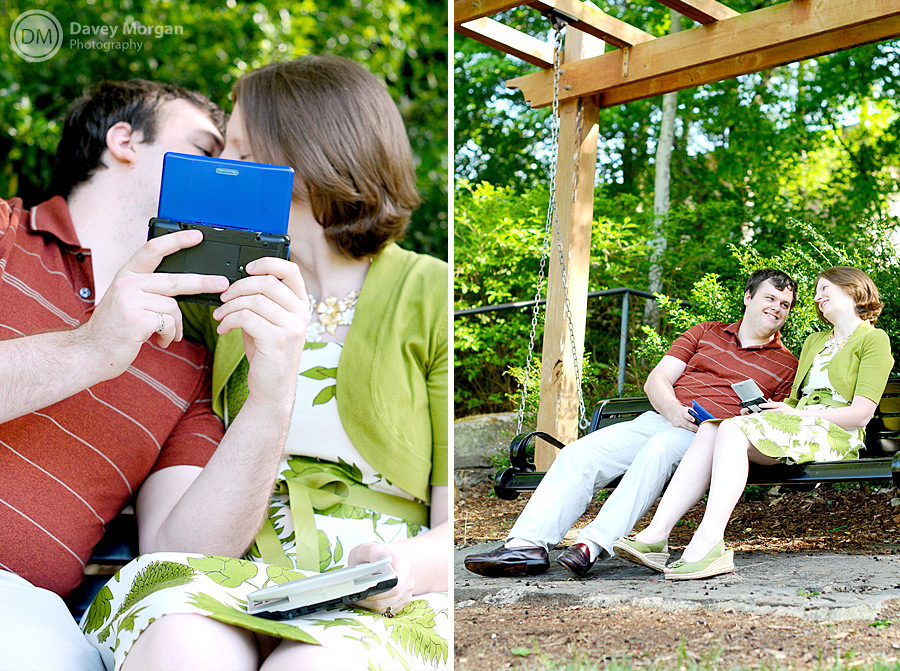 Playing Pokemon on Nintendo DS in Falls Park | Davey Morgan Photography