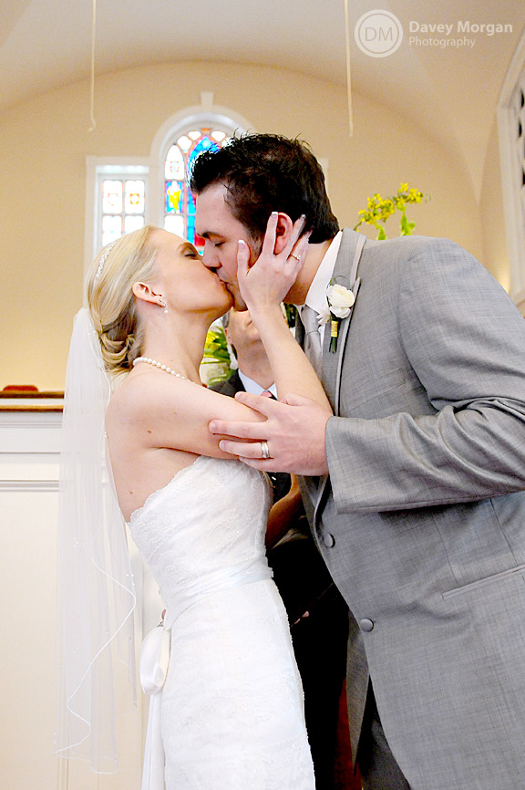 Bride and groom's first kiss at wedding | Davey Morgan Photography
