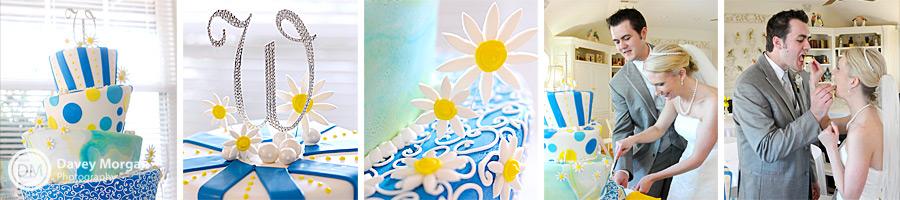 Fun wedding cake with flowers | Davey Morgan Photography