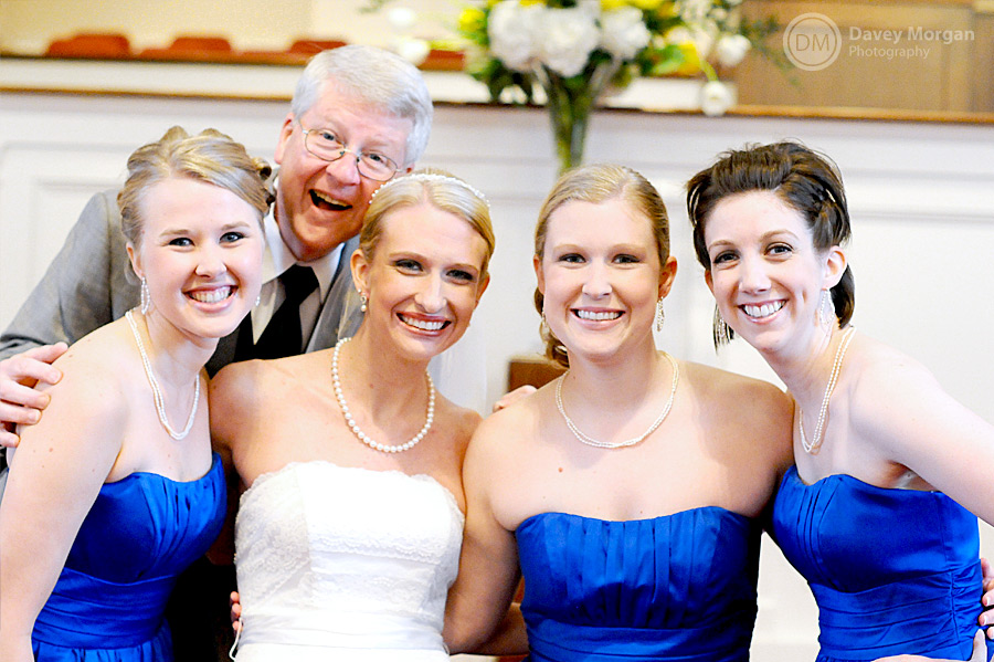 Bride and Bridesmaids in blue dresses | Davey Morgan Photography