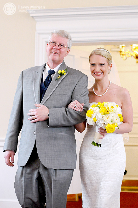 Father of Bride and Bride walking down church aisle | Davey Morgan Photography