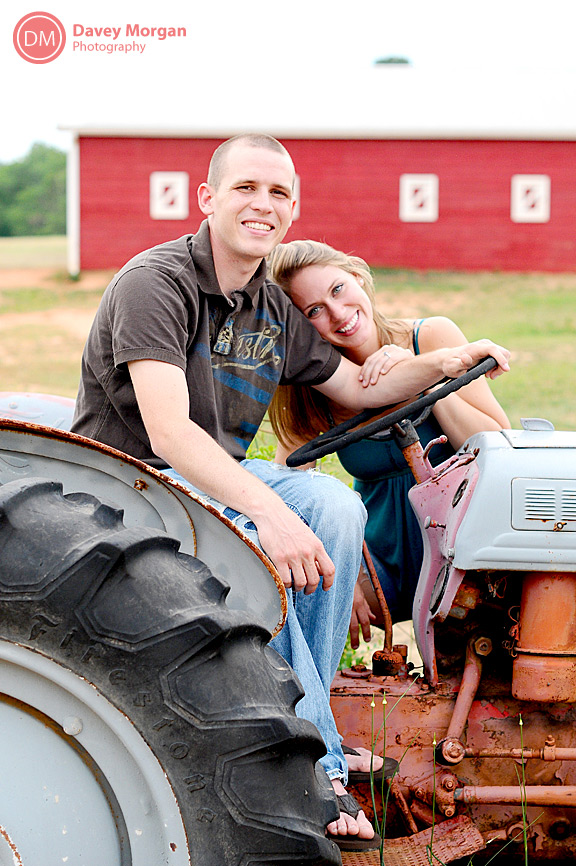 engagement pictures on a farm tractor | Davey Morgan Photography