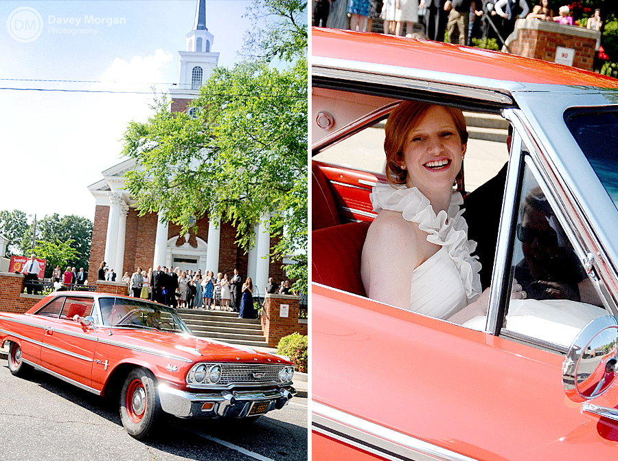 Newlyweds leaving in a red classic car | Davey Morgan Photography