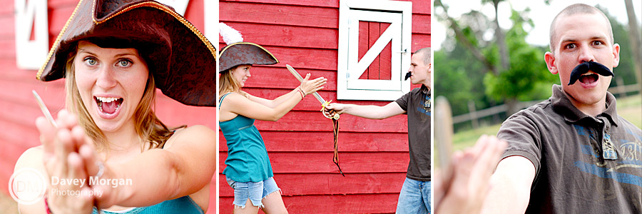 pirate themed engagement picture in front of a red barn  | Davey Morgan Photography