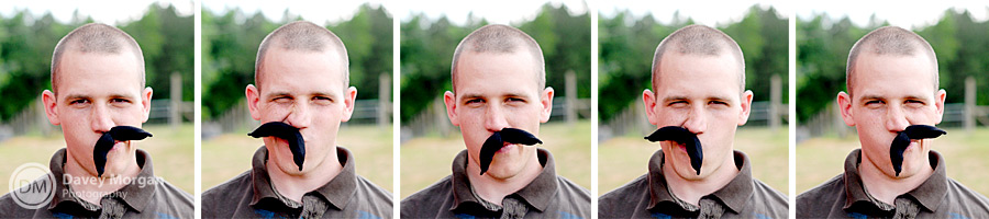 Photo booth mustache on engaged couple | Davey Morgan Photography