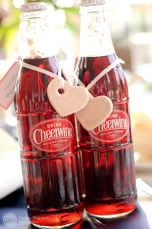 Cheerwine wedding favors with hearts | Davey Morgan Photography