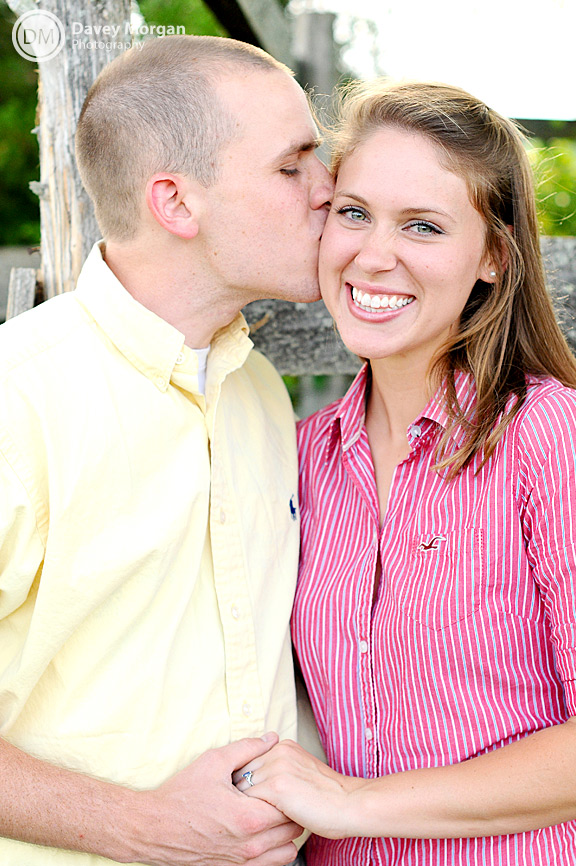 Kissing cheek engagement picture | Davey Morgan Photography