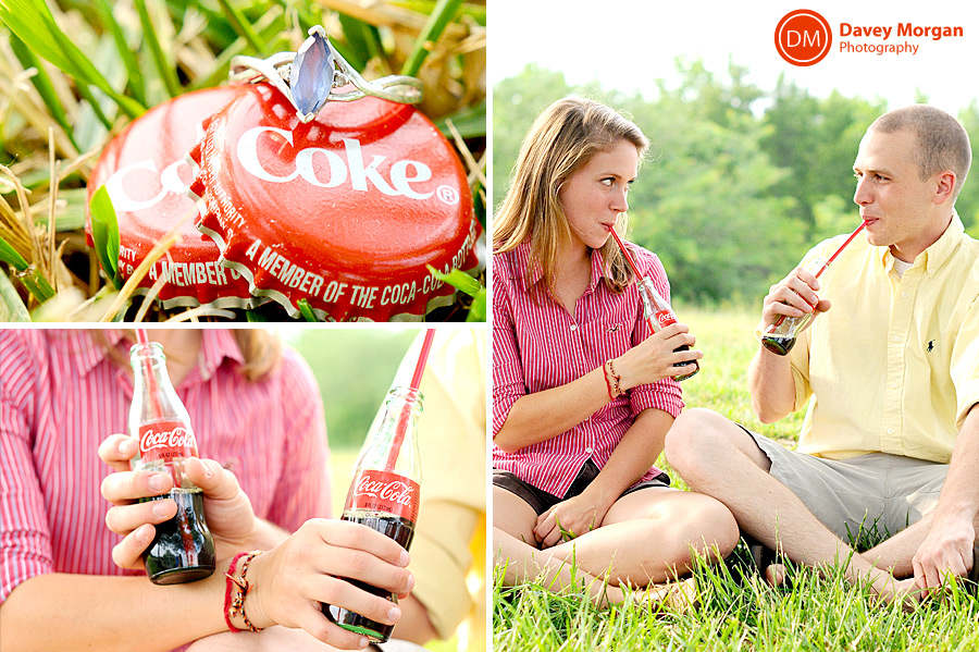 Engagement pictures with classic coca-cola glass bottle | Davey Morgan Photography