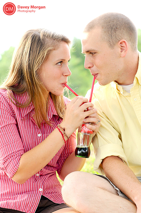 Engagement pictures drinking classic coca-cola | Davey Morgan Photography