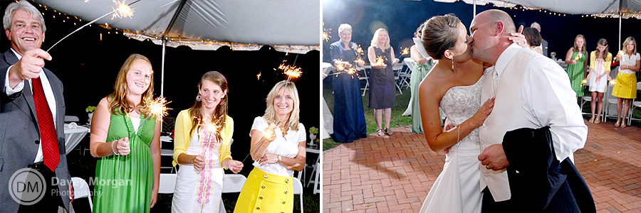 Couple leaving with sparklers at Palmetto Collegiate Institute | Davey Morgan Photography