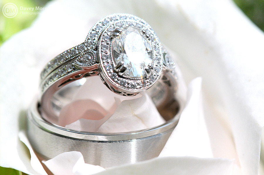 Picture of an engagement ring and wedding band | Davey Morgan Photography