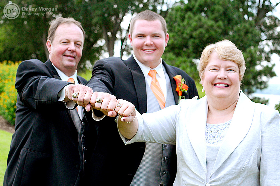 Groom and parents with Clemson Rings | Davey Morgan Photography