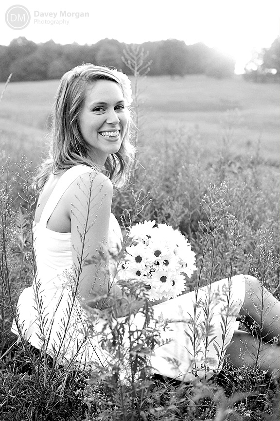 Bride in a field at sunset | Davey Morgan Photography