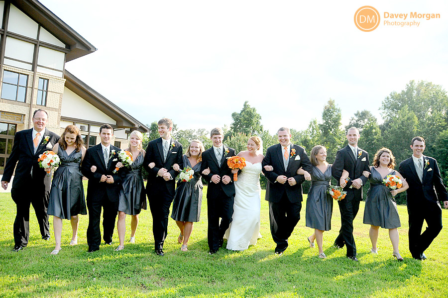 bridal party walking outside the Clemson United Methodist Church | Davey Morgan Photography