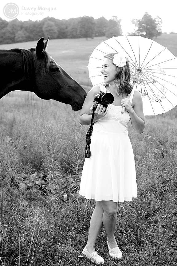 bride with camera and a horse | Davey Morgan Photography