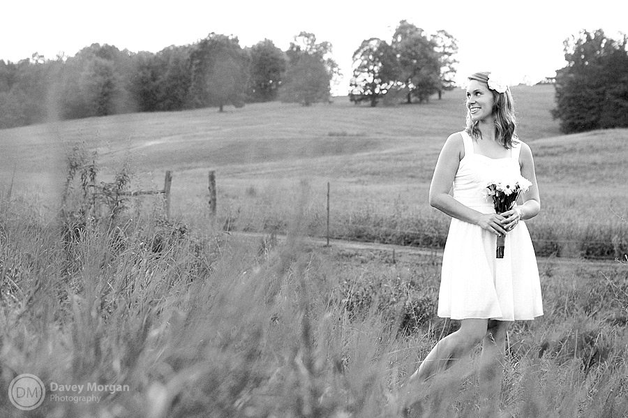 black and white of a bride in a field | Davey Morgan Photography