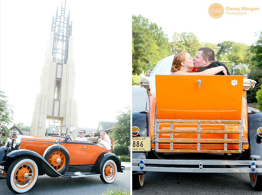 Old Antique Clemson Car colored orange rented and borrowed for wedding  | Davey Morgan Photography