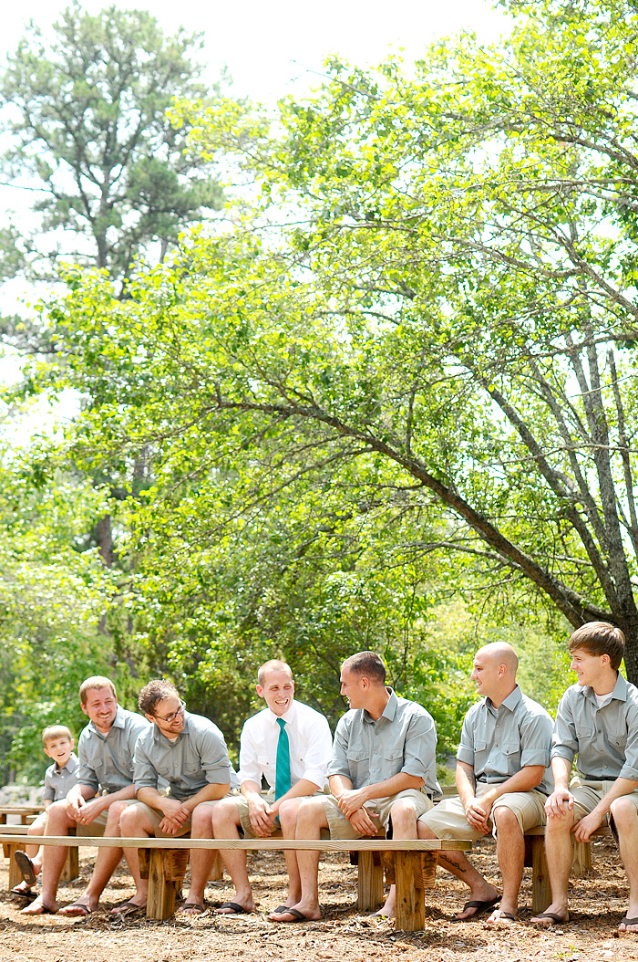 Groom and Groomsmen sitting on bench | Davey Morgan Photography