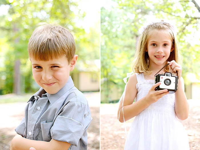 Ring bearer and flower girl with vintage cameras | Davey Morgan Photography
