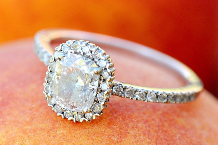 Diamond Engagement Ring on Peach | Davey Morgan Photography