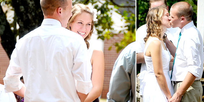 bride and groom being married and first kiss | Davey Morgan Photography