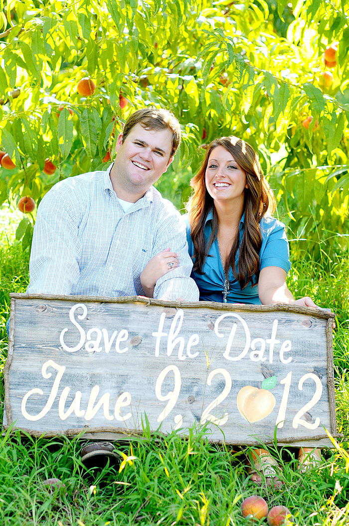 Save the Date Sign with Peach   Davey Morgan Photography