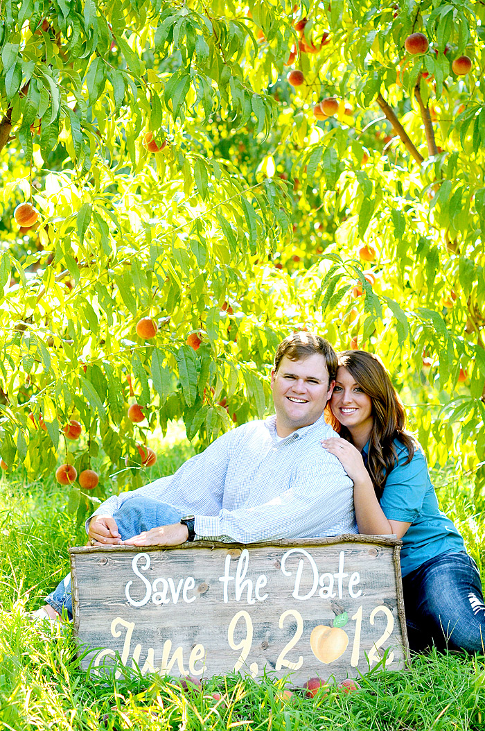 Save the Date Card with peach trees   Davey Morgan Photography