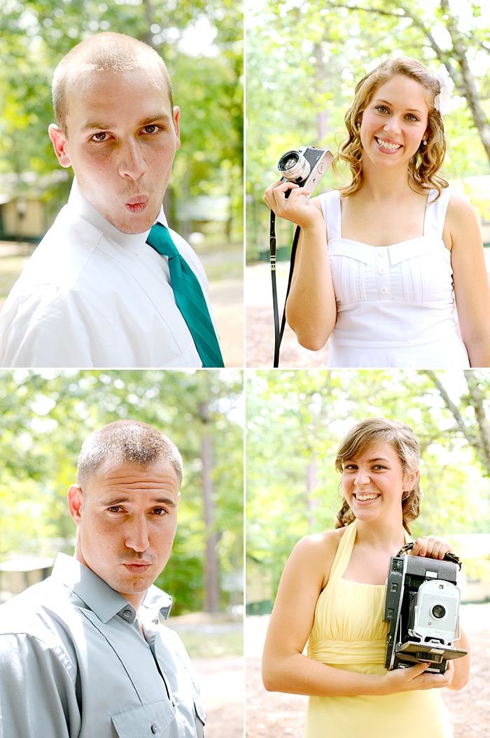 Bride and Groom with vintage cameras | Davey Morgan Photography