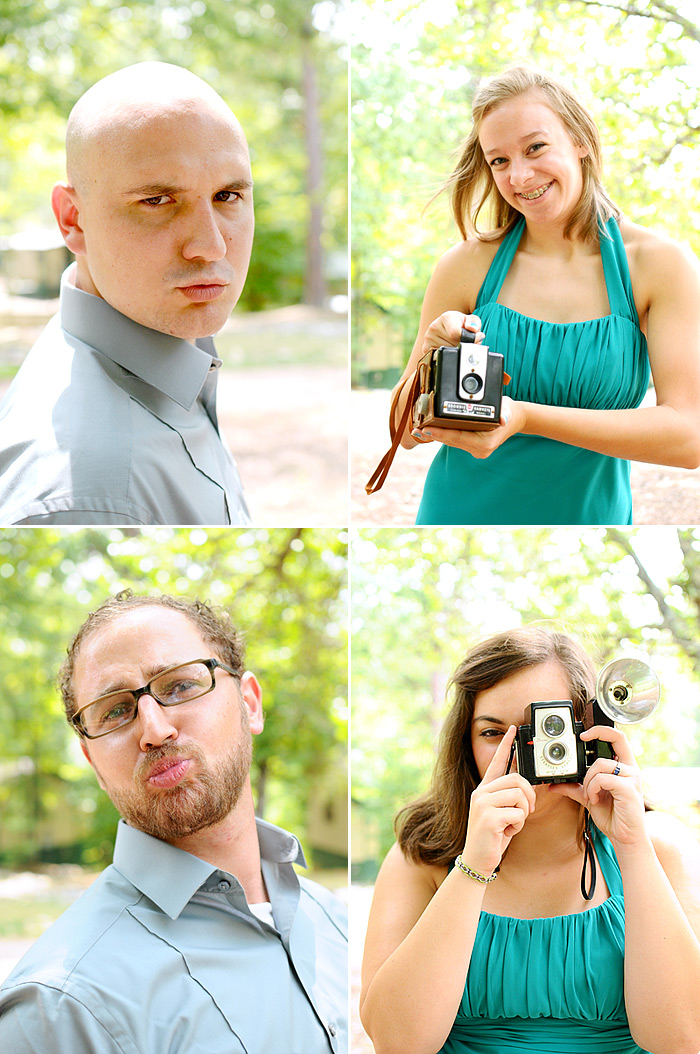 Bridesmaids and Groomsmen with vintage cameras | Davey Morgan Photography