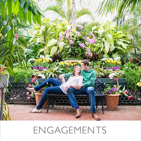 Portfolio: Engagements at the Biltmore Estate in Asheville, NC, Clemson University campus, and downtown Greenville